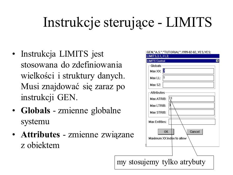Instrukcja LIMITS jest stosowana do zdefiniowania wielkości i struktury danych. Musi znajdować się zaraz po instrukcji GEN. Globals - zmienne globalne