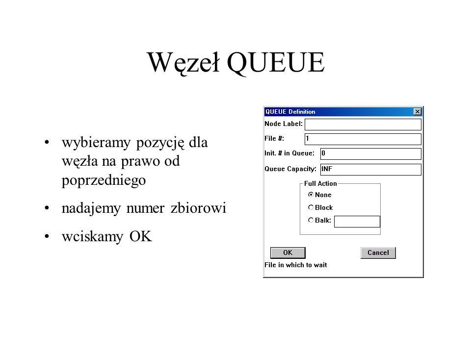 Węzeł QUEUE wybieramy pozycję dla węzła na prawo od poprzedniego nadajemy numer zbiorowi wciskamy OK