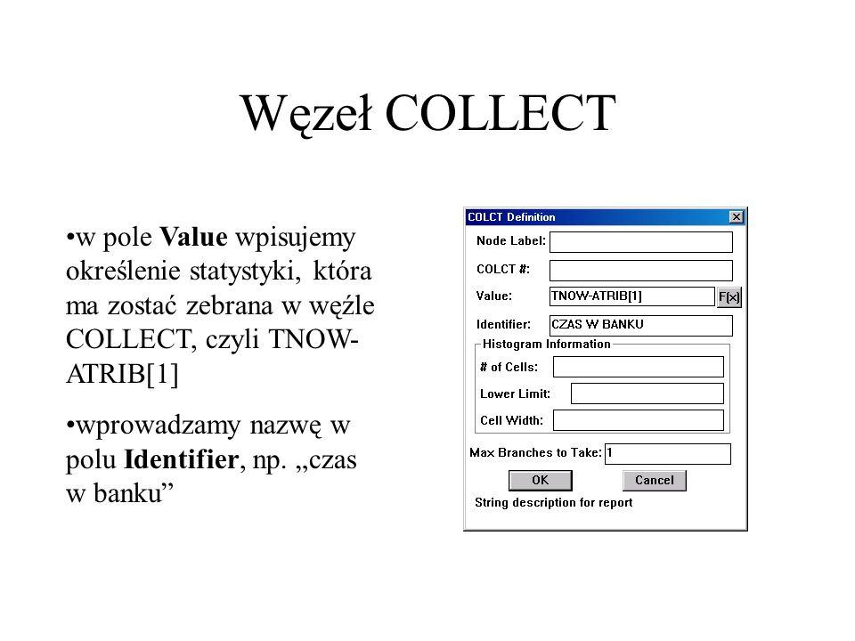 Węzeł COLLECT w pole Value wpisujemy określenie statystyki, która ma zostać zebrana w węźle COLLECT, czyli TNOW- ATRIB[1] wprowadzamy nazwę w polu Ide