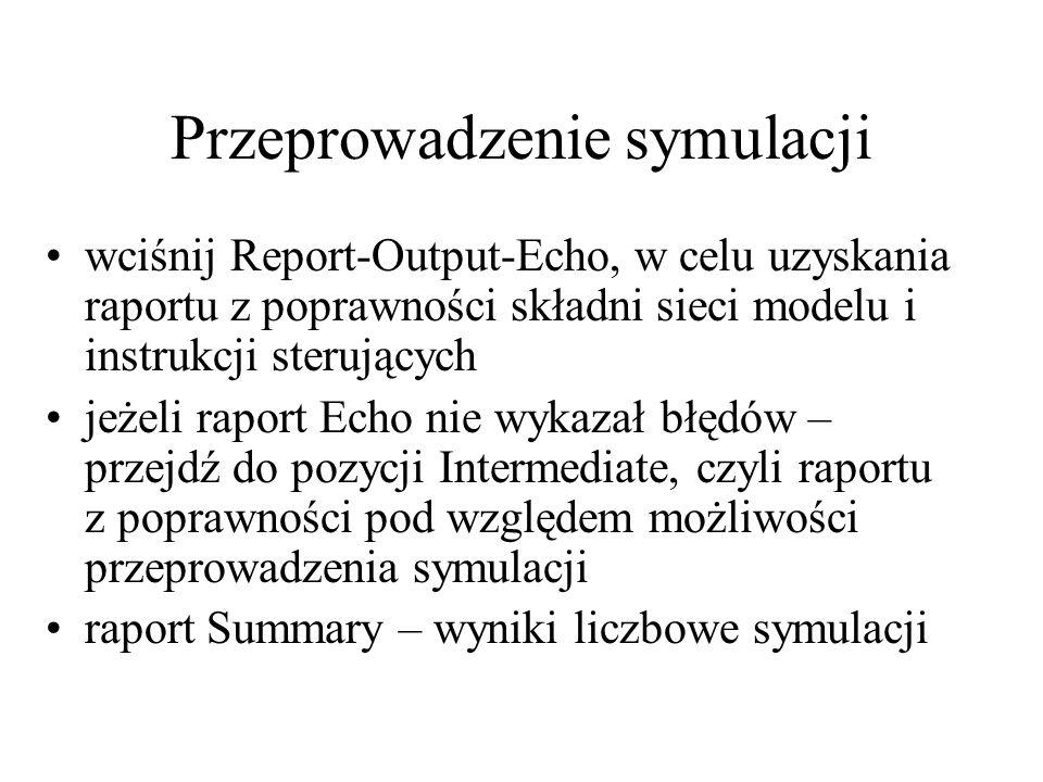 Przeprowadzenie symulacji wciśnij Report-Output-Echo, w celu uzyskania raportu z poprawności składni sieci modelu i instrukcji sterujących jeżeli rapo