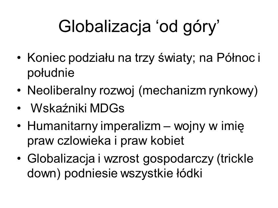 Globalizacja od góry Koniec podziału na trzy światy; na Północ i południe Neoliberalny rozwoj (mechanizm rynkowy) Wskaźniki MDGs Humanitarny imperalizm – wojny w imię praw czlowieka i praw kobiet Globalizacja i wzrost gospodarczy (trickle down) podniesie wszystkie łódki
