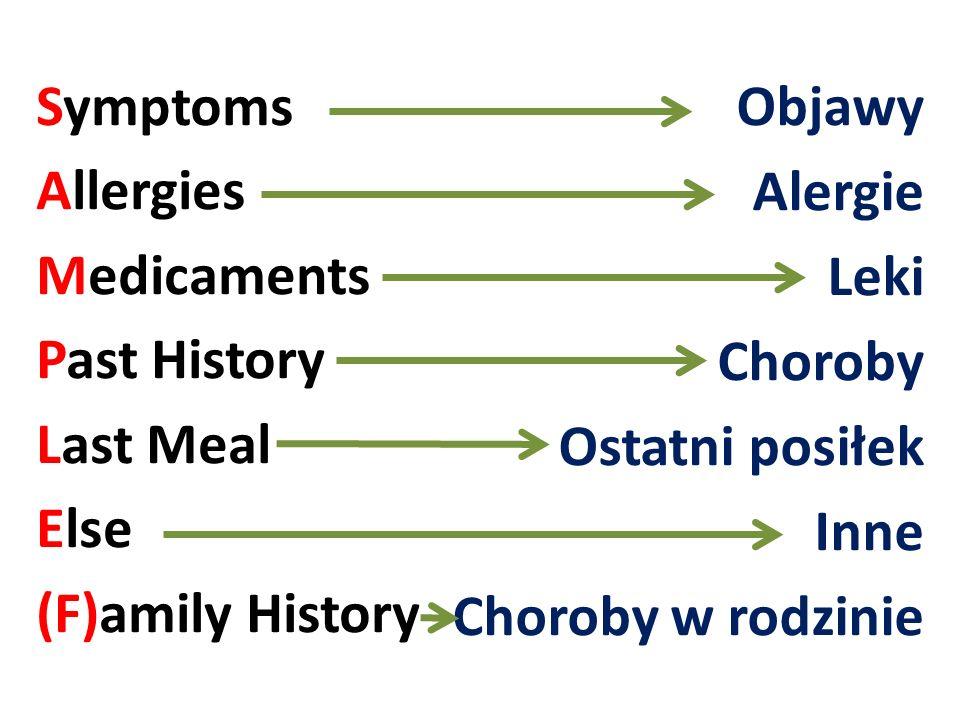 Symptoms Allergies Medicaments Past History Last Meal Else (F)amily History Objawy Alergie Leki Choroby Ostatni posiłek Inne Choroby w rodzinie