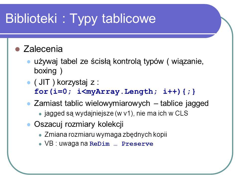 Biblioteki : Typy tablicowe Zalecenia używaj tabel ze ścisłą kontrolą typów ( wiązanie, boxing ) ( JIT ) korzystaj z : for(i=0; i<myArray.Length; i++)