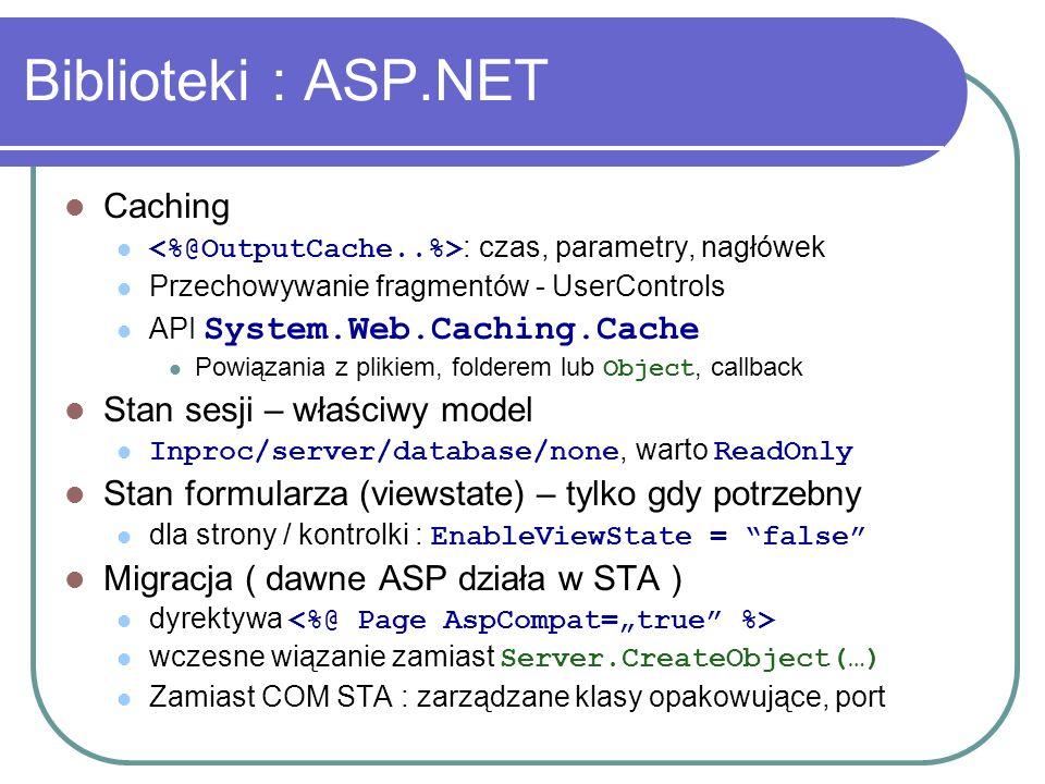 Biblioteki : ASP.NET Caching : czas, parametry, nagłówek Przechowywanie fragmentów - UserControls API System.Web.Caching.Cache Powiązania z plikiem, f