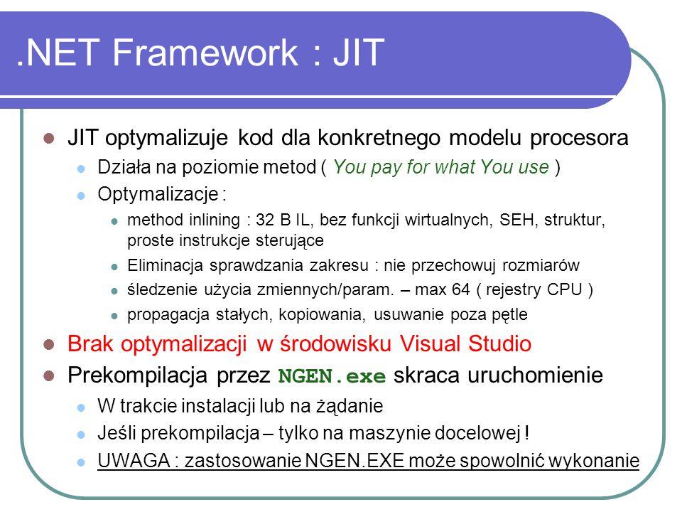 .NET Framework : JIT JIT optymalizuje kod dla konkretnego modelu procesora Działa na poziomie metod ( You pay for what You use ) Optymalizacje : metho