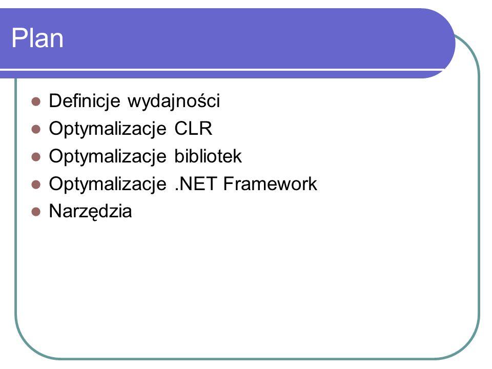 Podsumowanie CLR: Garbage Collector – profil alokacji Reference / Value Types, boxing Reflection - późne wiązanie Structured Exception Handling Biblioteki Typy znakowe, Typy tablicowe Wielowątkowość - pula wątków, blokowanie ASP.NET – stan sesji, viewstate, caching Enterprise Services – oszczędnie, aplikacje library Performance counters – gdy zmierzysz, uwierzysz Polecamy Windows 2003 /.NET Framework 1.1 ZNACZNIE lepsze mechanizmy SMP, obsługa 3GB
