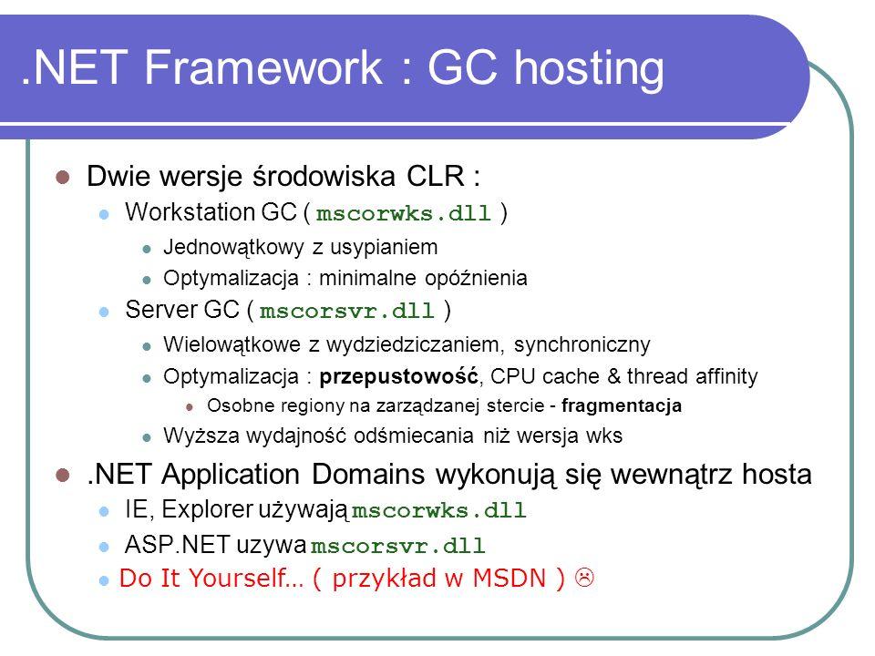 .NET Framework : GC hosting Dwie wersje środowiska CLR : Workstation GC ( mscorwks.dll ) Jednowątkowy z usypianiem Optymalizacja : minimalne opóźnieni