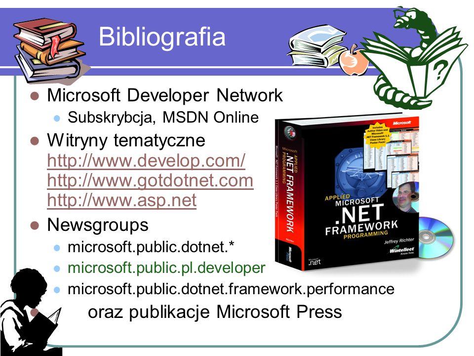 Bibliografia Microsoft Developer Network Subskrybcja, MSDN Online Witryny tematyczne http://www.develop.com/ http://www.gotdotnet.com http://www.asp.n