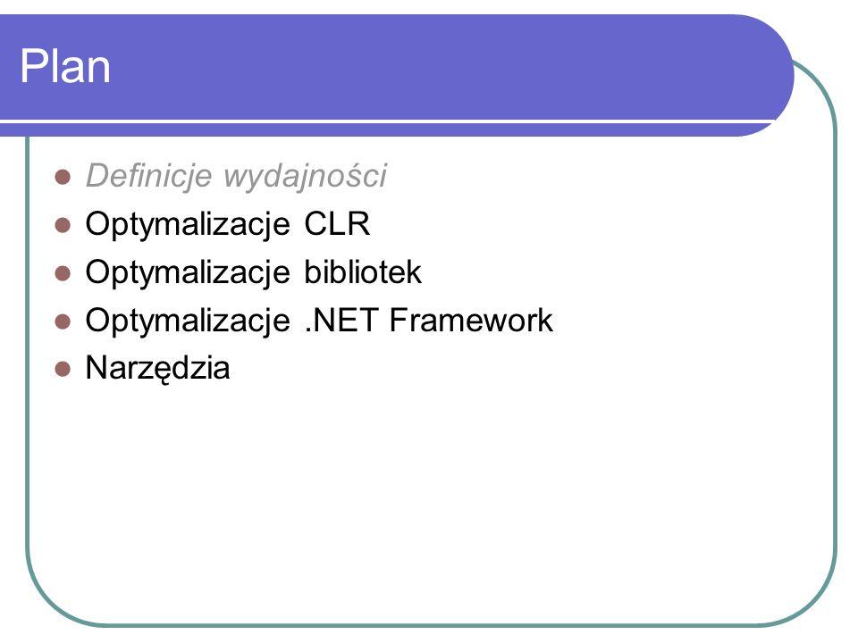 CLR: Garbage Collector GC – optymalizowany, szybszy niż C/C++ Generacje - czas życia obiektu Koszt : Gen.