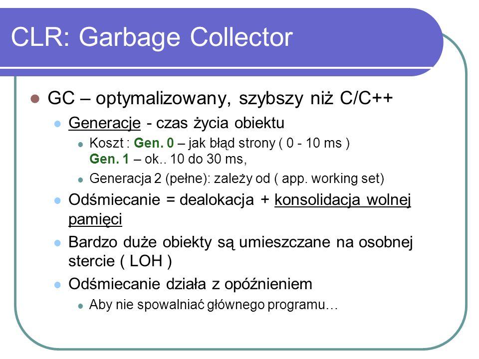 CLR: Garbage Collector GC – optymalizowany, szybszy niż C/C++ Generacje - czas życia obiektu Koszt : Gen. 0 – jak błąd strony ( 0 - 10 ms ) Gen. 1 – o