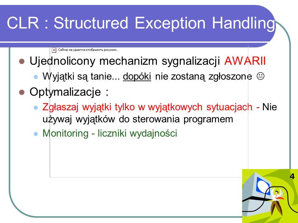 CLR : Structured Exception Handling Ujednolicony mechanizm sygnalizacji AWARII Wyjątki są tanie... dopóki nie zostaną zgłoszone Optymalizacje : Zgłasz