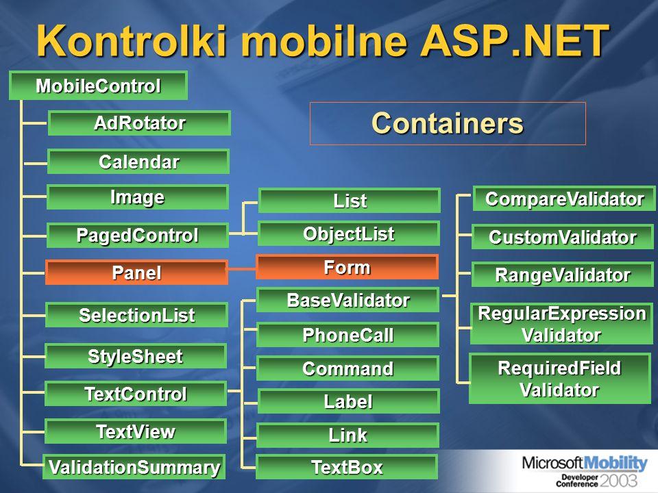 Kontrolki mobilne ASP.NET MobileControl StyleSheet TextControl TextView ValidationSummary AdRotator Calendar PagedControl SelectionList Panel Image Li