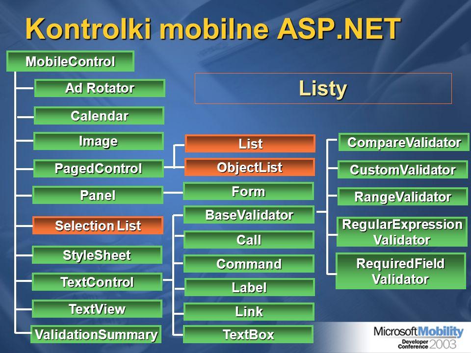 Kontrolki mobilne ASP.NET MobileControl StyleSheet TextControl TextView ValidationSummary Ad Rotator Calendar PagedControl Selection List Panel Image