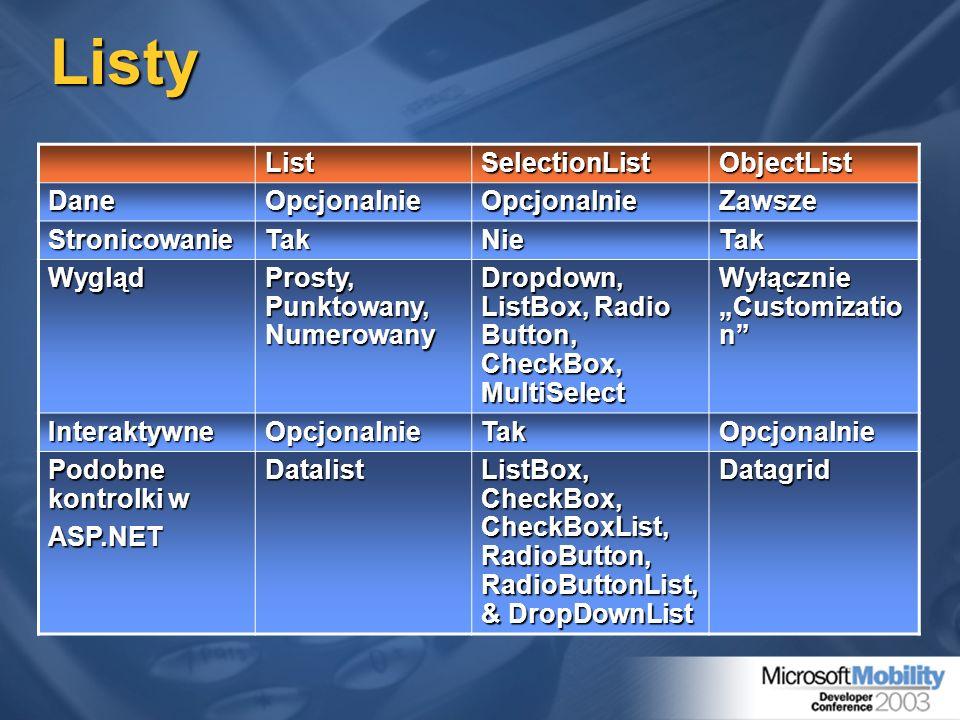 Listy ListSelectionListObjectList DaneOpcjonalnieOpcjonalnieZawsze StronicowanieTakNieTak Wygląd Prosty, Punktowany, Numerowany Dropdown, ListBox, Rad