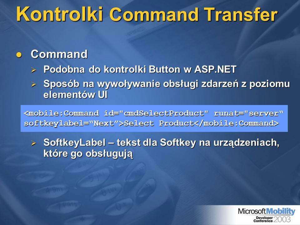 Kontrolki Command Transfer Command Command Podobna do kontrolki Button w ASP.NET Podobna do kontrolki Button w ASP.NET Sposób na wywoływanie obsługi z