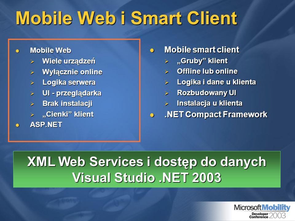 Mobile Web i Smart Client Mobile Web Mobile Web Wiele urządzeń Wiele urządzeń Wyłącznie online Wyłącznie online Logika serwera Logika serwera UI - prz