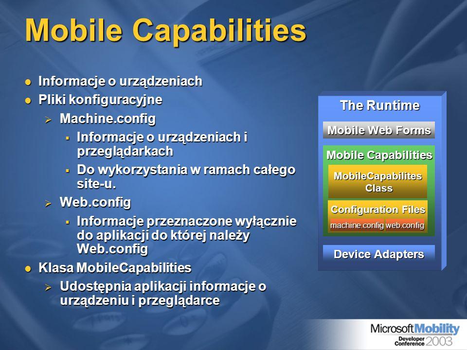 Informacje o urządzeniach Informacje o urządzeniach Pliki konfiguracyjne Pliki konfiguracyjne Machine.config Machine.config Informacje o urządzeniach