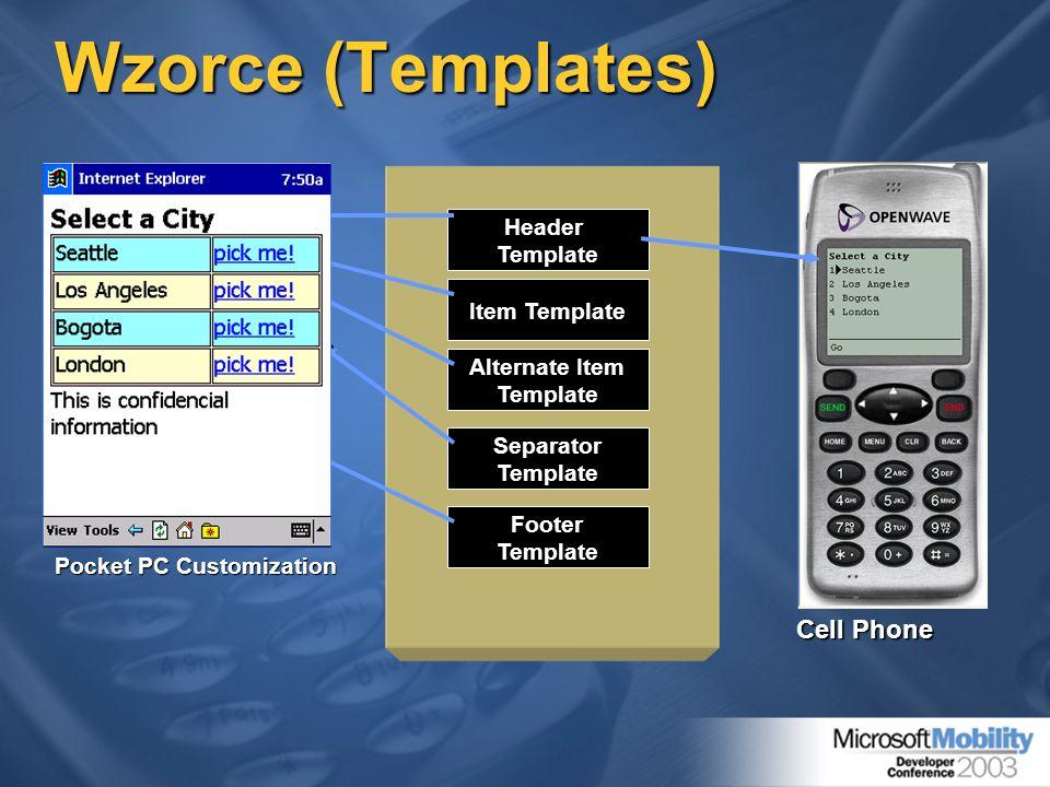 Wzorce (Templates) HeaderTemplate Item Template Alternate Item Template FooterTemplate SeparatorTemplate Pocket PC Customization Cell Phone