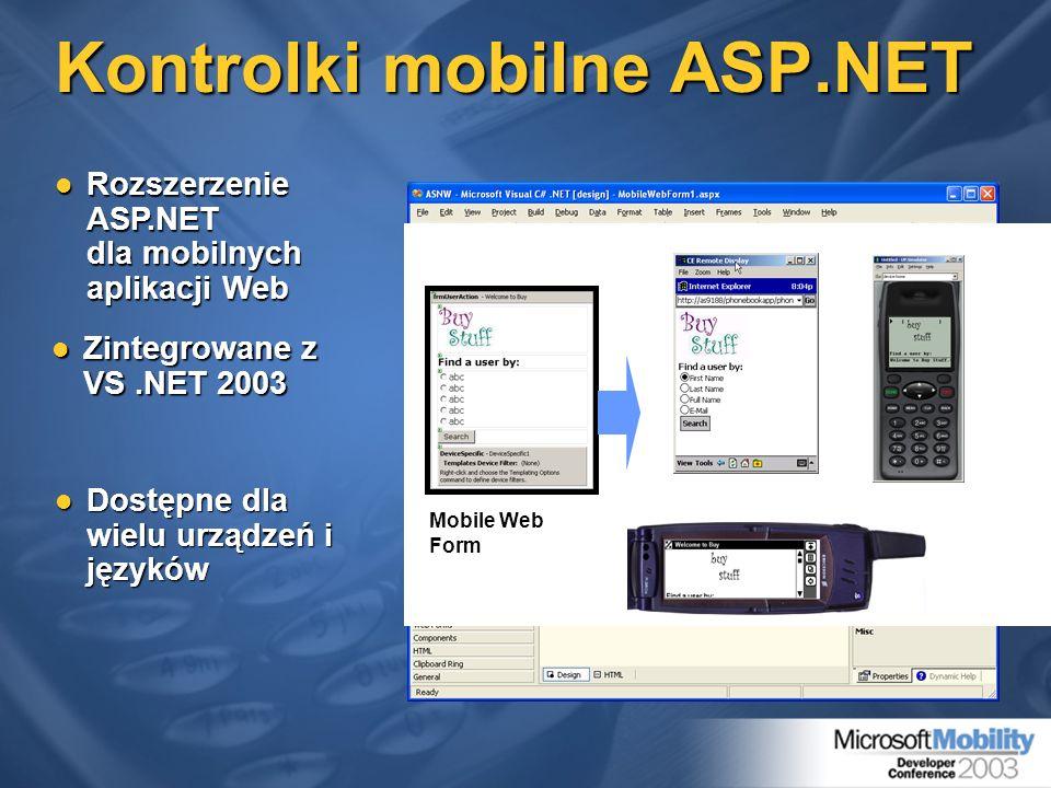 Kontrolki mobilne ASP.NET Zintegrowane z VS.NET 2003 Zintegrowane z VS.NET 2003.NET Framework Services Framework ASP.NET Common Language Runtime Syste