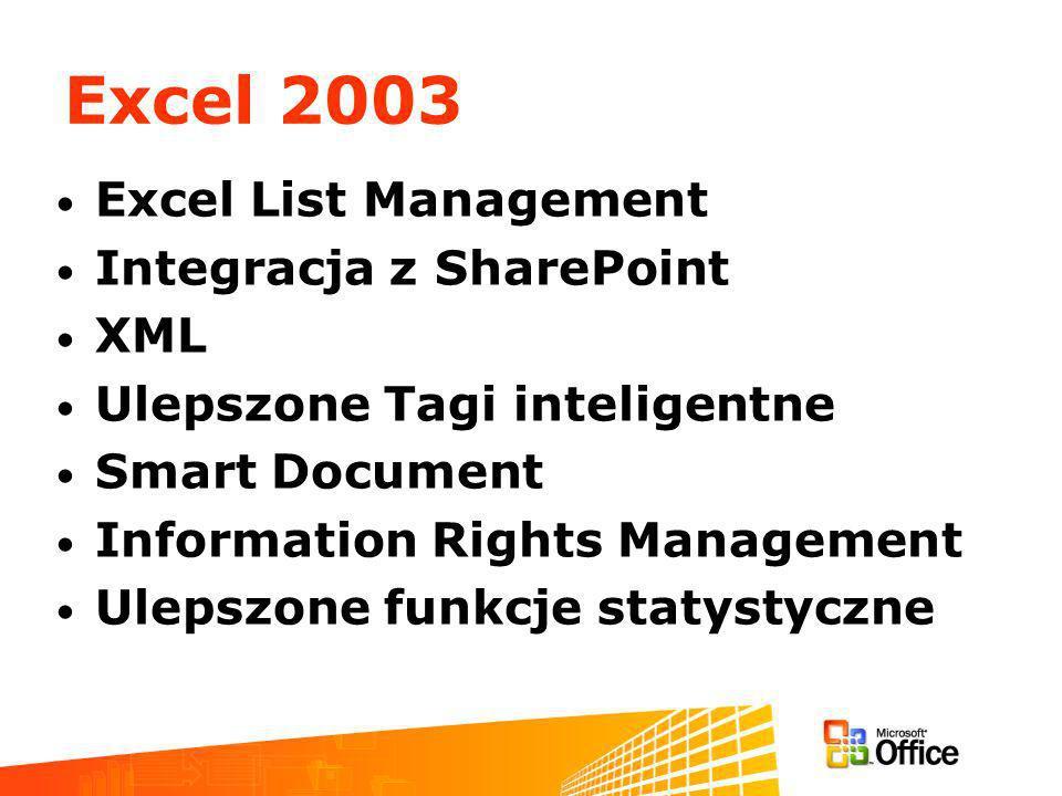 Excel 2003 Excel List Management Integracja z SharePoint XML Ulepszone Tagi inteligentne Smart Document Information Rights Management Ulepszone funkcje statystyczne