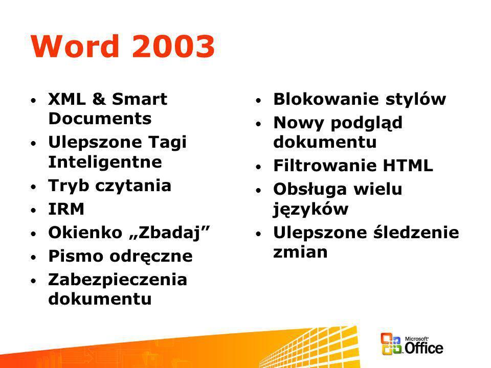 Word 2003 XML & Smart Documents Ulepszone Tagi Inteligentne Tryb czytania IRM Okienko Zbadaj Pismo odręczne Zabezpieczenia dokumentu Blokowanie stylów Nowy podgląd dokumentu Filtrowanie HTML Obsługa wielu języków Ulepszone śledzenie zmian