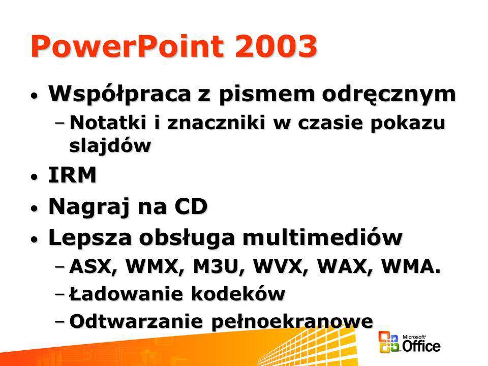 PowerPoint 2003 Współpraca z pismem odręcznym Współpraca z pismem odręcznym –Notatki i znaczniki w czasie pokazu slajdów IRM IRM Nagraj na CD Nagraj na CD Lepsza obsługa multimediów Lepsza obsługa multimediów –ASX, WMX, M3U, WVX, WAX, WMA.