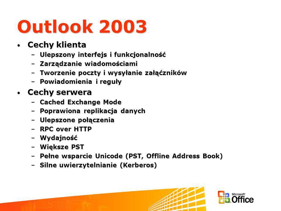 Outlook 2003 Cechy klienta Cechy klienta –Ulepszony interfejs i funkcjonalność –Zarządzanie wiadomościami –Tworzenie poczty i wysyłanie załąćzników –Powiadomienia i reguły Cechy serwera Cechy serwera –Cached Exchange Mode –Poprawiona replikacja danych –Ulepszone połączenia –RPC over HTTP –Wydajność –Większe PST –Pełne wsparcie Unicode (PST, Offline Address Book) –Silne uwierzytelnianie (Kerberos)
