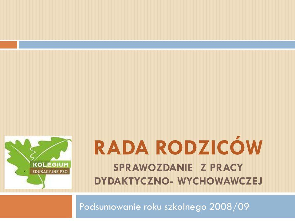RADA RODZICÓW SPRAWOZDANIE Z PRACY DYDAKTYCZNO- WYCHOWAWCZEJ Podsumowanie roku szkolnego 2008/09