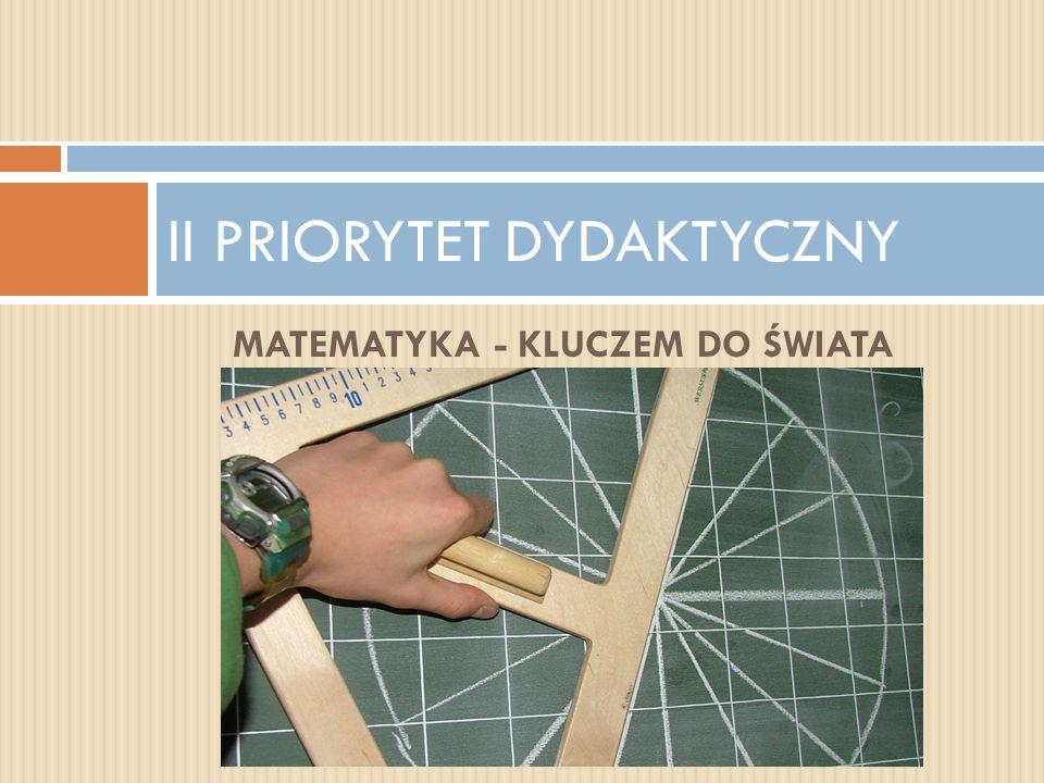 MATEMATYKA - KLUCZEM DO ŚWIATA II PRIORYTET DYDAKTYCZNY