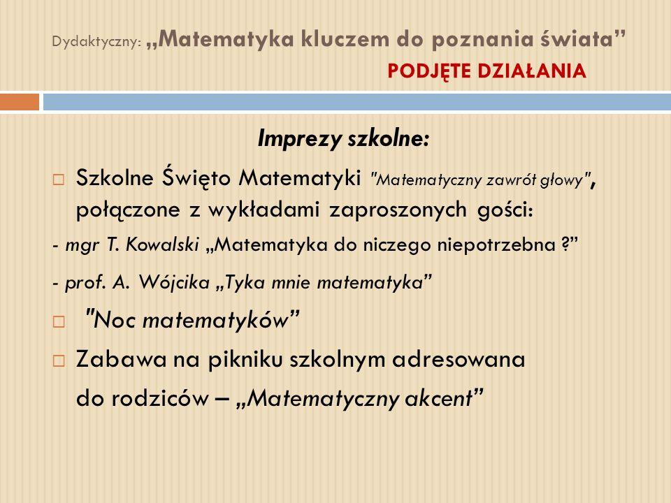 Dydaktyczny: Matematyka kluczem do poznania świata PODJĘTE DZIAŁANIA Imprezy szkolne: Szkolne Święto Matematyki