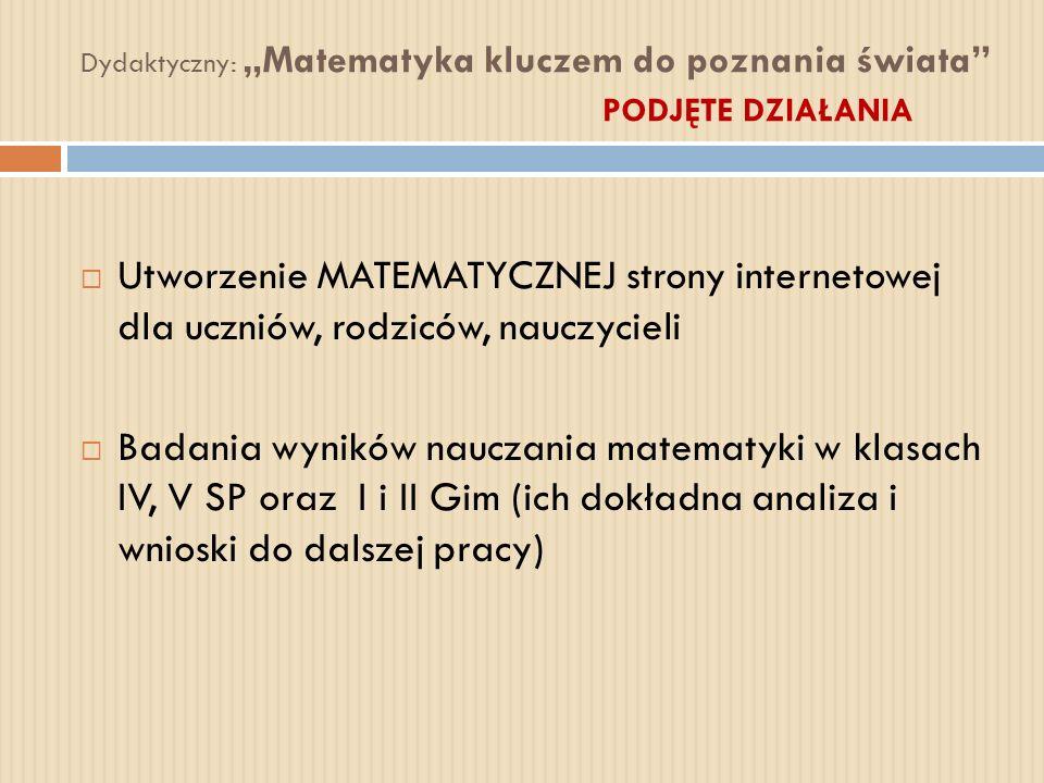Dydaktyczny: Matematyka kluczem do poznania świata PODJĘTE DZIAŁANIA Utworzenie MATEMATYCZNEJ strony internetowej dla uczniów, rodziców, nauczycieli B