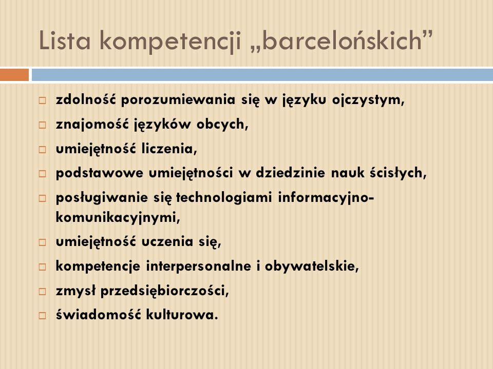 Lista kompetencji barcelońskich zdolność porozumiewania się w języku ojczystym, znajomość języków obcych, umiejętność liczenia, podstawowe umiejętnośc