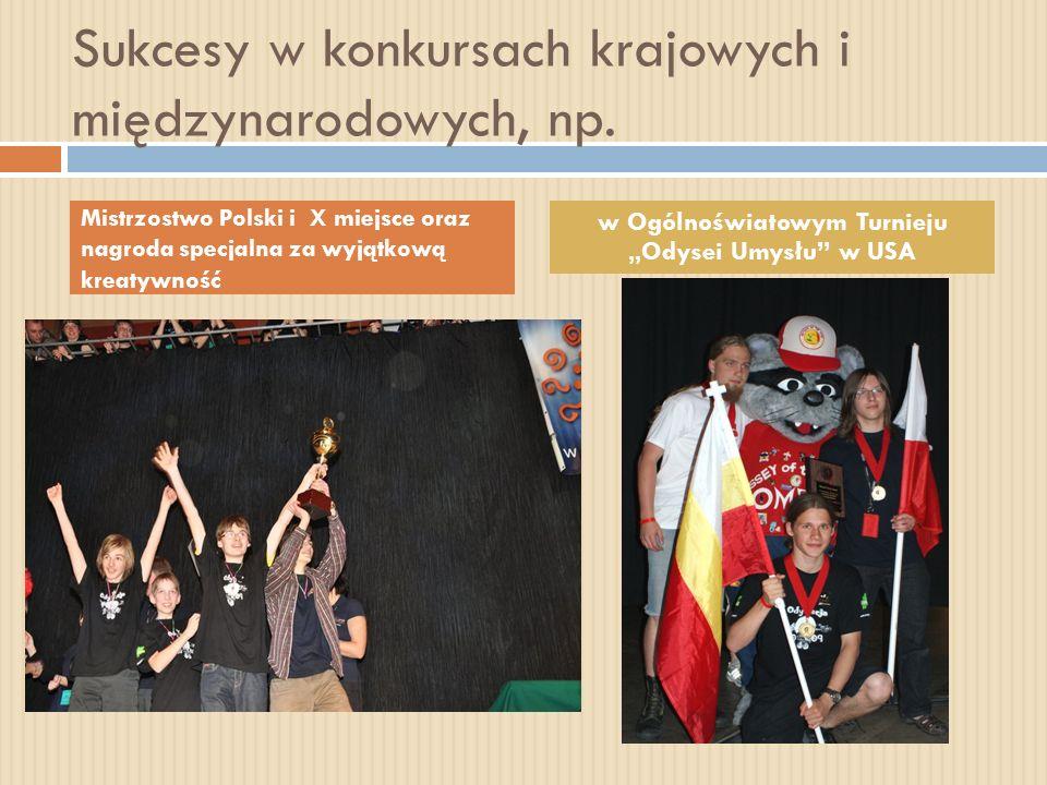 Sukcesy w konkursach krajowych i międzynarodowych, np. Mistrzostwo Polski i X miejsce oraz nagroda specjalna za wyjątkową kreatywność w Ogólnoświatowy