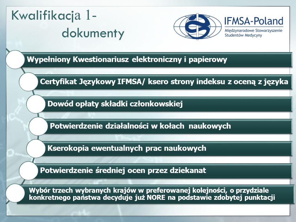 Wypełniony Kwestionariusz elektroniczny i papierowy Certyfikat Językowy IFMSA/ ksero strony indeksu z oceną z języka Dowód opłaty składki członkowskie