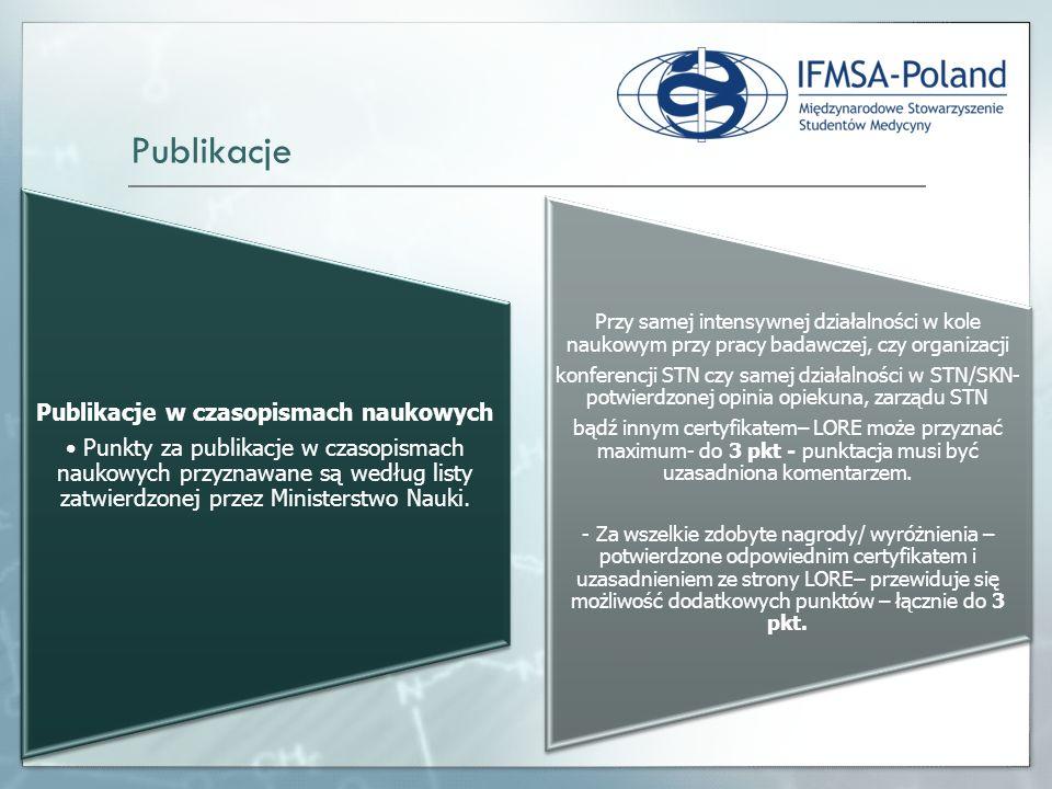 Publikacje w czasopismach naukowych Punkty za publikacje w czasopismach naukowych przyznawane są według listy zatwierdzonej przez Ministerstwo Nauki.