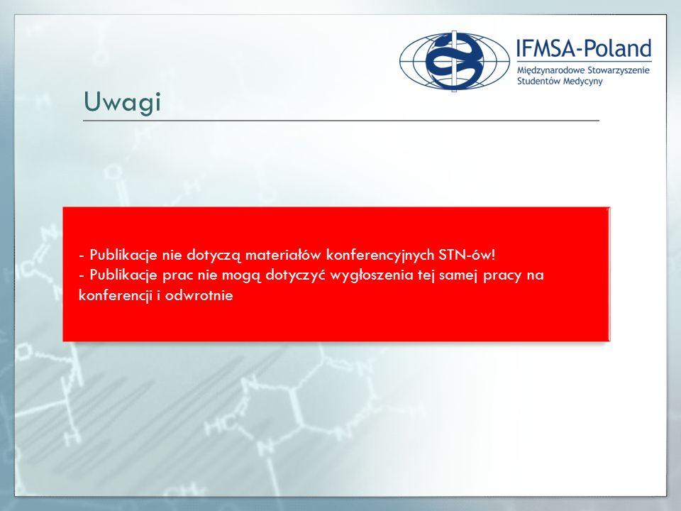 - Publikacje nie dotyczą materiałów konferencyjnych STN-ów! - Publikacje prac nie mogą dotyczyć wygłoszenia tej samej pracy na konferencji i odwrotnie
