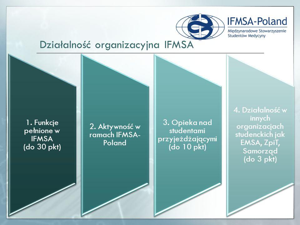 1. Funkcje pełnione w IFMSA (do 30 pkt) 2. Aktywność w ramach IFMSA- Poland 3. Opieka nad studentami przyjeżdżającymi (do 10 pkt) 4. Działalność w inn
