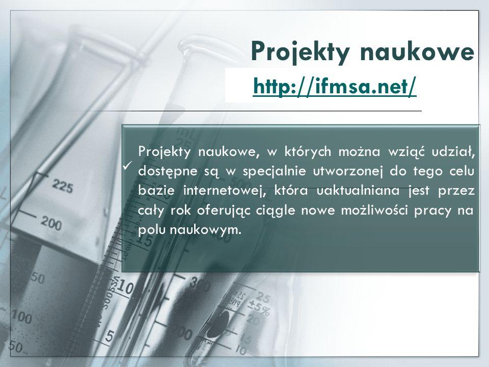 Projekty naukowe Projekty naukowe, w których można wziąć udział, dostępne są w specjalnie utworzonej do tego celu bazie internetowej, która uaktualnia