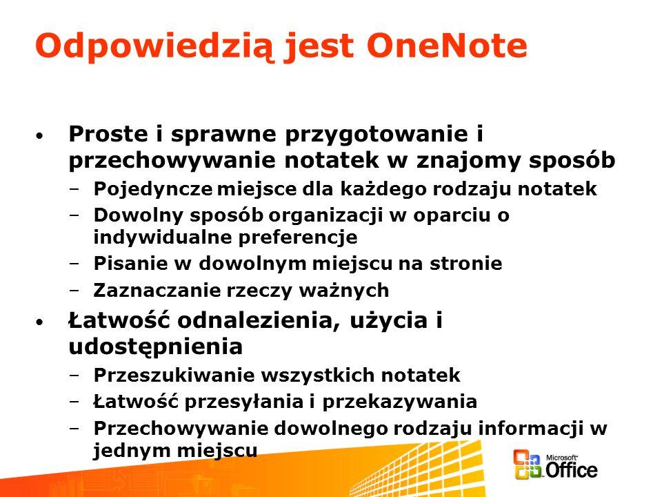 Odpowiedzią jest OneNote Proste i sprawne przygotowanie i przechowywanie notatek w znajomy sposób –Pojedyncze miejsce dla każdego rodzaju notatek –Dow
