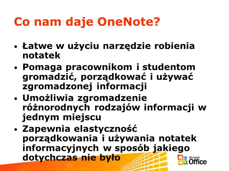Co nam daje OneNote? Łatwe w użyciu narzędzie robienia notatek Pomaga pracownikom i studentom gromadzić, porządkować i używać zgromadzonej informacji