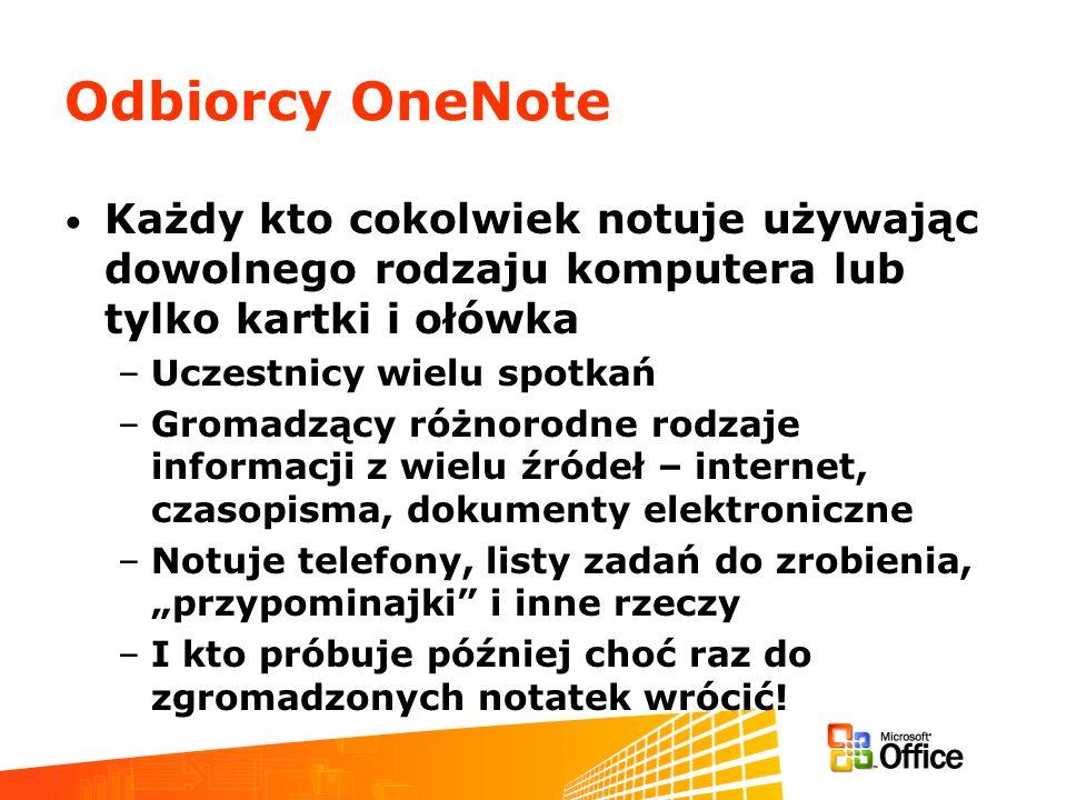Odbiorcy OneNote Każdy kto cokolwiek notuje używając dowolnego rodzaju komputera lub tylko kartki i ołówka –Uczestnicy wielu spotkań –Gromadzący różno
