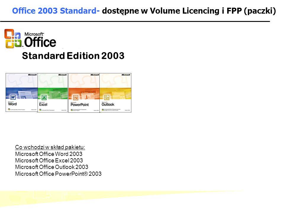 - 5 - Microsoft Confidential: Internal Use Only Office 2003 Standard- dostępne w Volume Licencing i FPP (paczki) Standard Edition 2003 Co wchodzi w sk