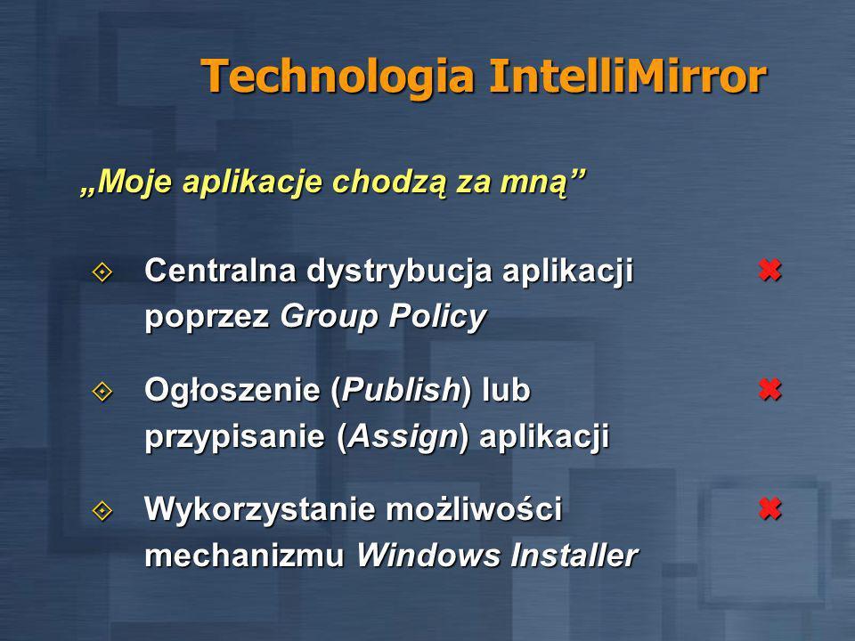 Technologia IntelliMirror Centralna dystrybucja aplikacji poprzez Group Policy Centralna dystrybucja aplikacji poprzez Group Policy Ogłoszenie (Publish) lub przypisanie (Assign) aplikacji Ogłoszenie (Publish) lub przypisanie (Assign) aplikacji Wykorzystanie możliwości mechanizmu Windows Installer Wykorzystanie możliwości mechanizmu Windows Installer Moje aplikacje chodzą za mną
