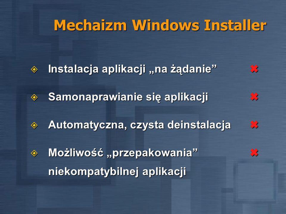 Mechaizm Windows Installer Instalacja aplikacji na żądanie Instalacja aplikacji na żądanie Samonaprawianie się aplikacji Samonaprawianie się aplikacji Automatyczna, czysta deinstalacja Automatyczna, czysta deinstalacja Możliwość przepakowania niekompatybilnej aplikacji Możliwość przepakowania niekompatybilnej aplikacji
