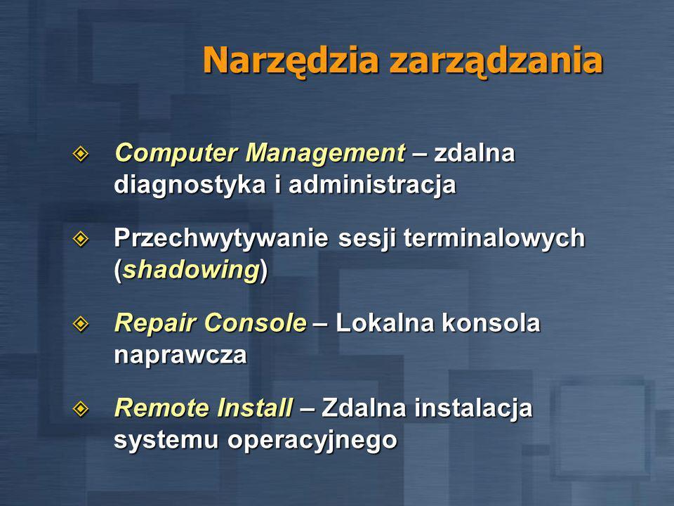 Narzędzia zarządzania Computer Management – zdalna diagnostyka i administracja Computer Management – zdalna diagnostyka i administracja Przechwytywanie sesji terminalowych (shadowing) Przechwytywanie sesji terminalowych (shadowing) Repair Console – Lokalna konsola naprawcza Repair Console – Lokalna konsola naprawcza Remote Install – Zdalna instalacja systemu operacyjnego Remote Install – Zdalna instalacja systemu operacyjnego
