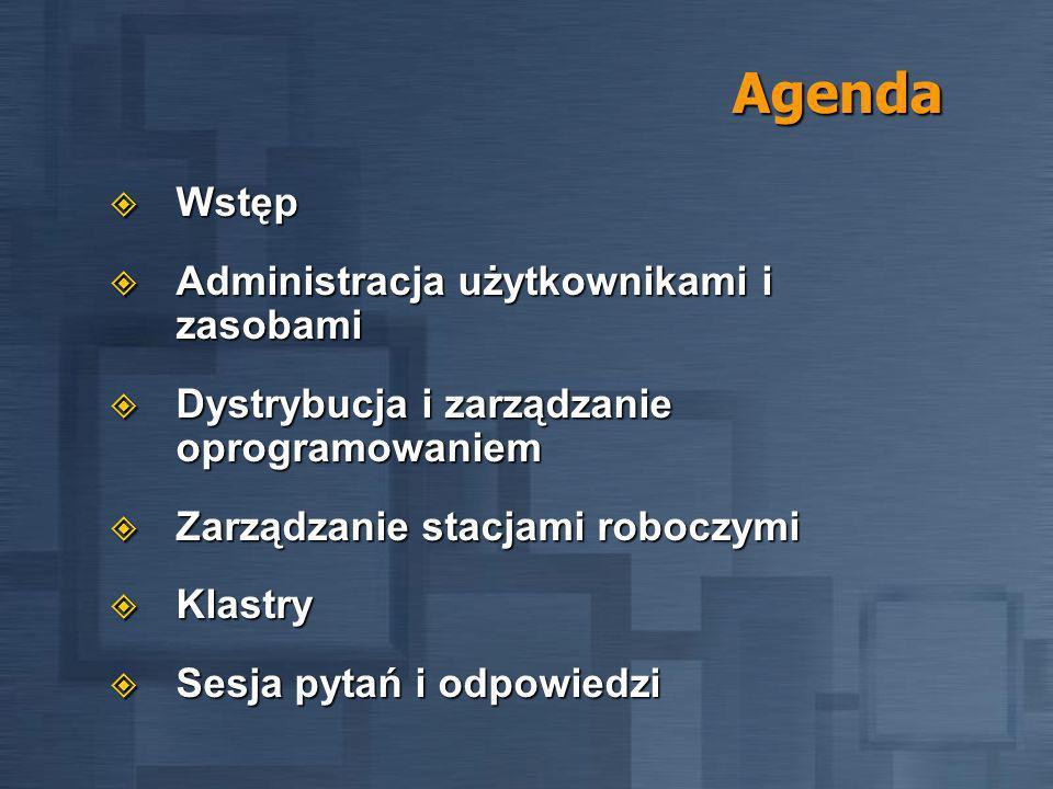 Agenda Wstęp Wstęp Administracja użytkownikami i zasobami Administracja użytkownikami i zasobami Dystrybucja i zarządzanie oprogramowaniem Dystrybucja i zarządzanie oprogramowaniem Zarządzanie stacjami roboczymi Zarządzanie stacjami roboczymi Klastry Klastry Sesja pytań i odpowiedzi Sesja pytań i odpowiedzi