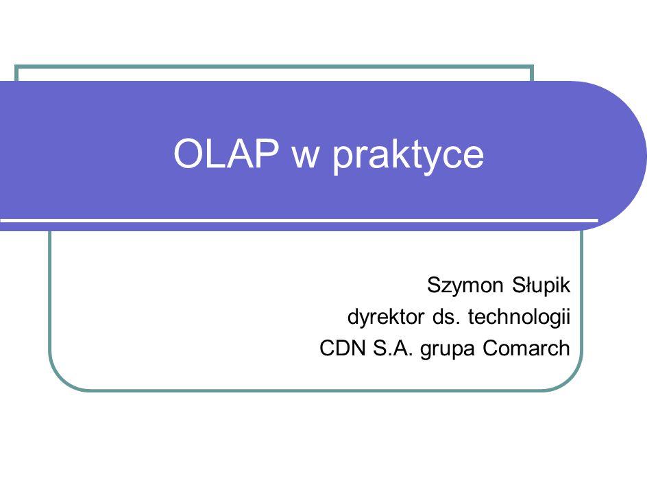 Optymalizacja agregacji Wymiary - Depends on Dimension property W edytorze wymiarów Wpływa na optymalizację agregatów wymiarów zależnych Kostki - usage-based optimization Serwer zapisuje dziennik zapytań (query log) Usage-based optimization kreuje najefektywniejszy zestaw agregatów używanych dla większości zapytań Błąd konstrukcyjny – w przypadku >64 wymiarów