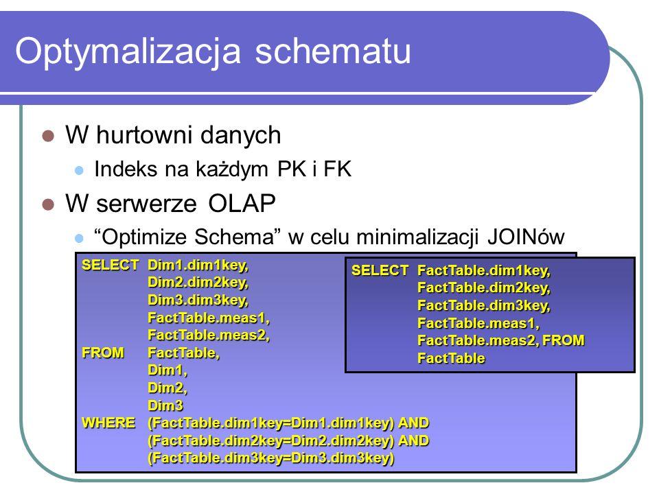 Optymalizacja schematu W hurtowni danych Indeks na każdym PK i FK W serwerze OLAP Optimize Schema w celu minimalizacji JOINów SELECT Dim1.dim1key, Dim