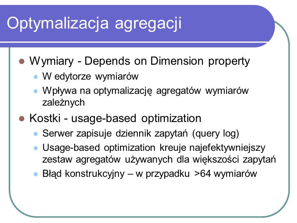 Optymalizacja agregacji Wymiary - Depends on Dimension property W edytorze wymiarów Wpływa na optymalizację agregatów wymiarów zależnych Kostki - usag