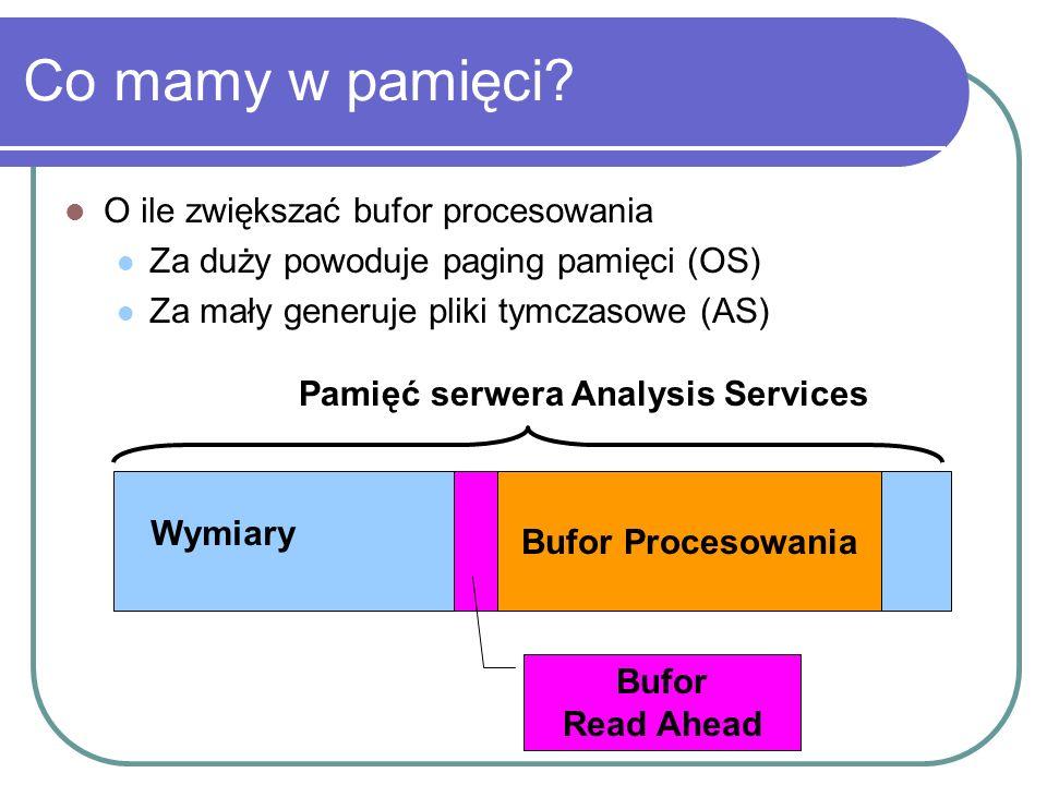 Co mamy w pamięci? O ile zwiększać bufor procesowania Za duży powoduje paging pamięci (OS) Za mały generuje pliki tymczasowe (AS) Wymiary Bufor Read A
